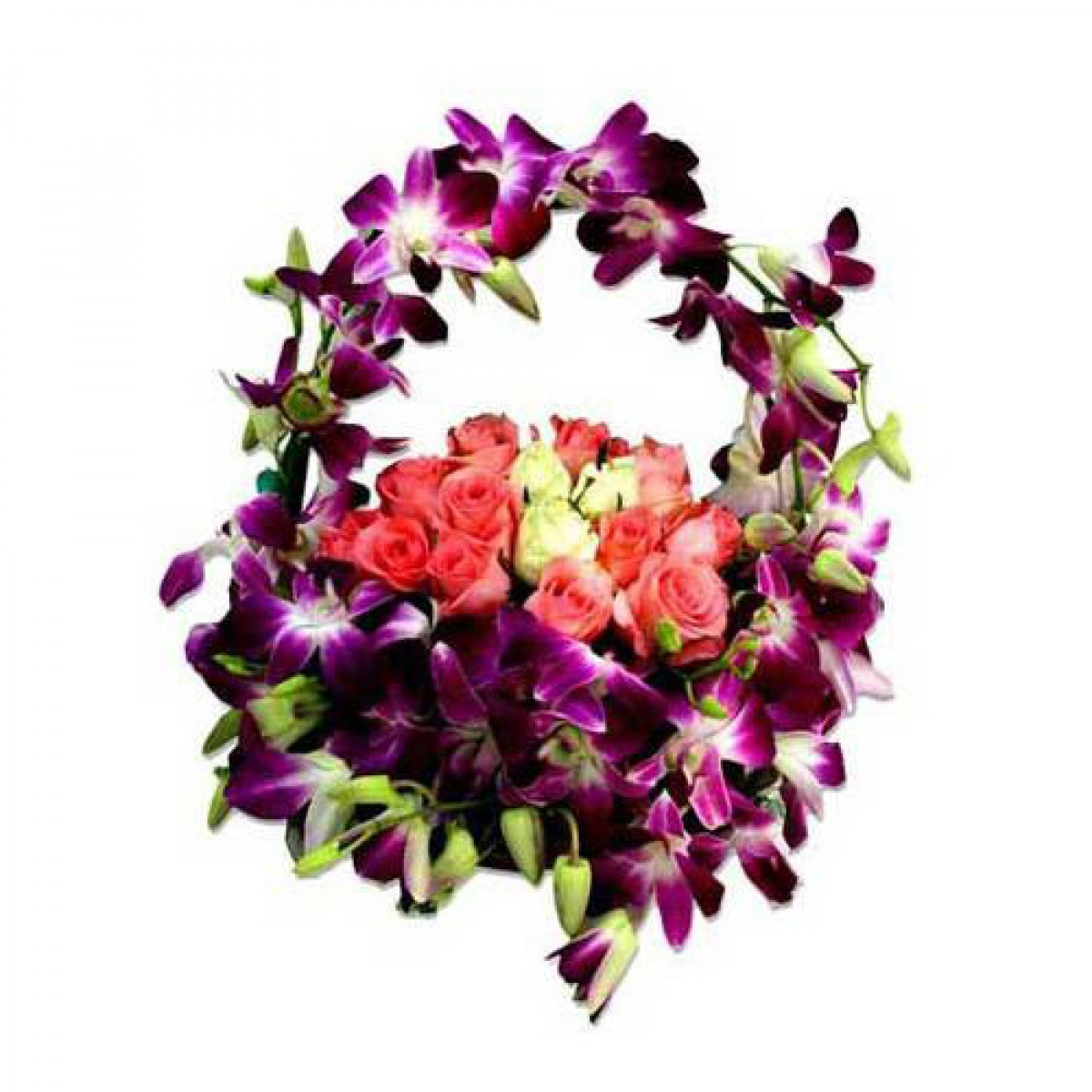 Homewarming Gift Orchid And Rose Basket Buy Gifts Online
