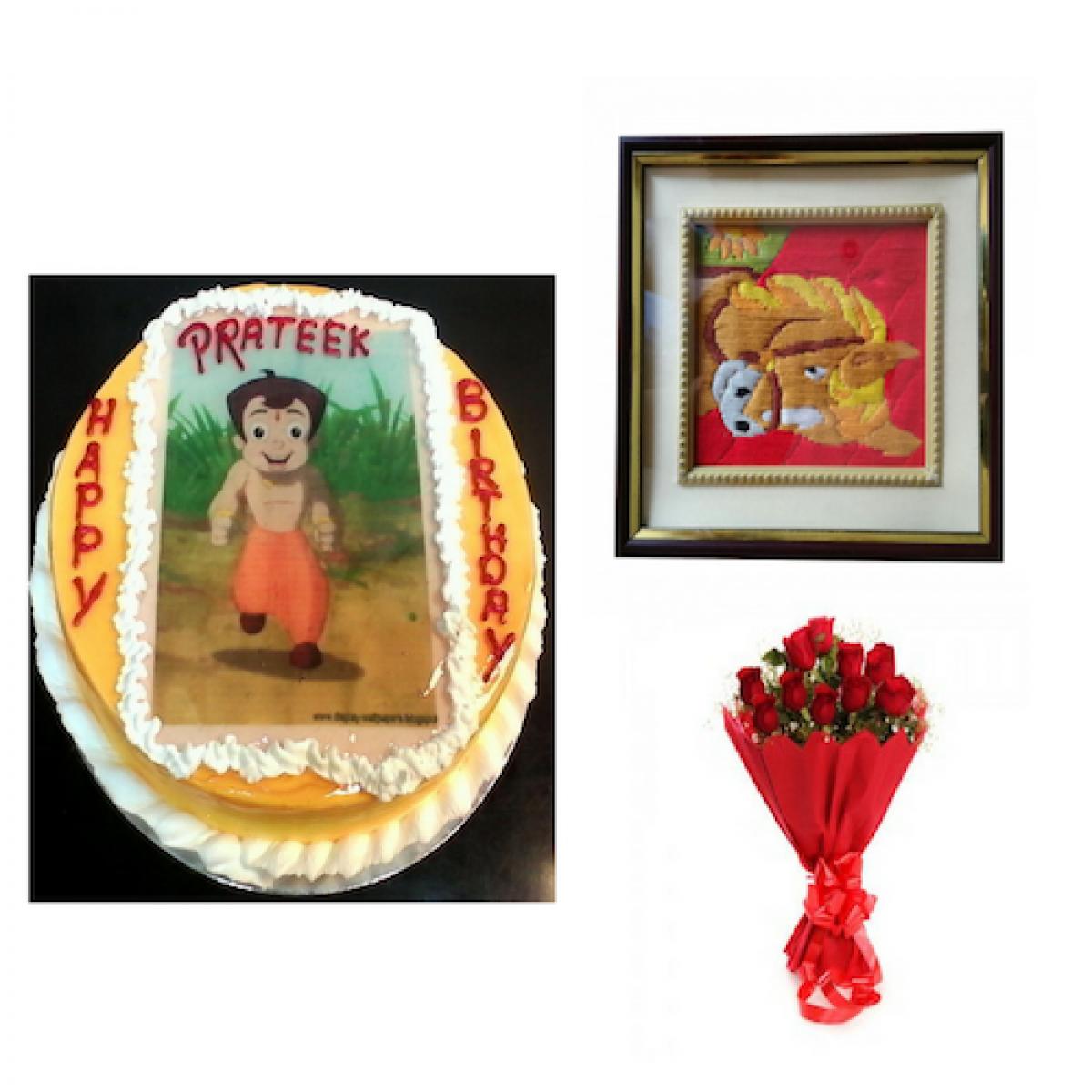 Personalized Cake Photo Frame Flowers Combo