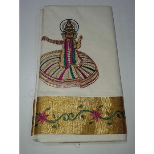 kerala kasavu saree with kathakali embroidery