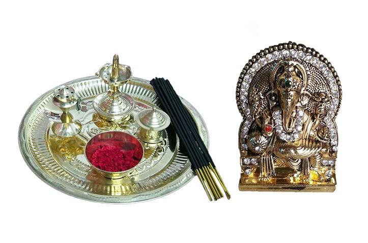 Diwali Thali - Puja Thali & Ganesh Idol - 1APO351