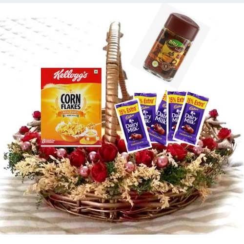 Artificial Flower Basket + Kellogg's Corn Flakes Real Honey 300g + Bru Coffee Gold Jar 100g + 4 Dairy Milk Chocolate - VLNTCOMB20192