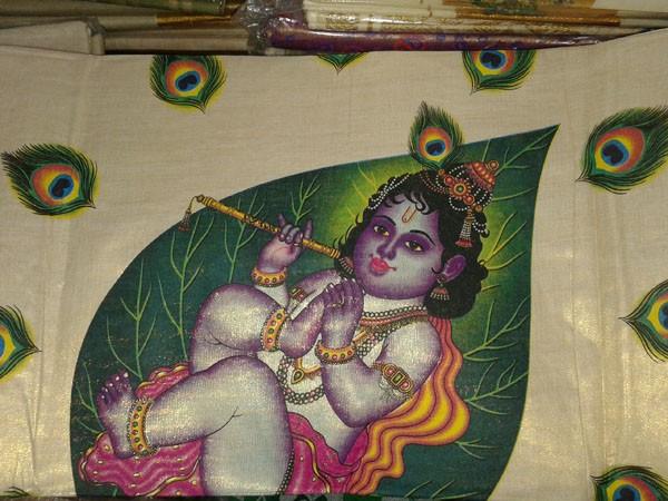 Baby Krishna on Leaf Mural Print Kerala Kasavu Tissue Saree - SAREE2017-12