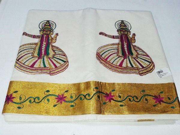 Kerala Kasavu Saree with Kathakali Design Embroidery Work - SAREE2017-13
