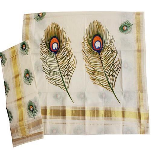 Kerala Saree with Elegant Peacock Design - SAREE2017-6