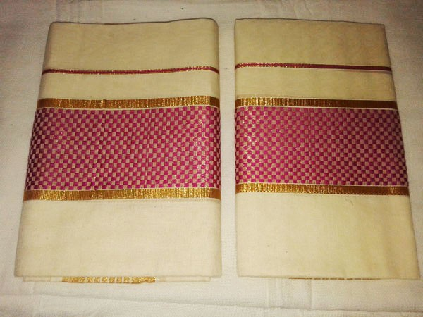 Kerala Kasavu Settu Mundu with Checks Design Border - SETSAREE2017-1