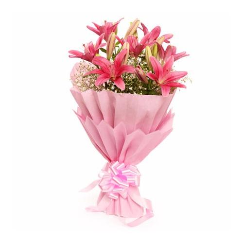 Pink Lily Bouquet - KGS-FLR131