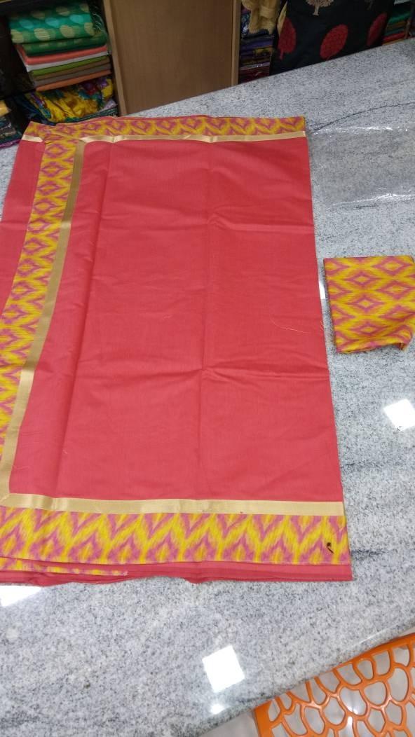 Pink Cotton Silk Saree with Peacock Printed Boarder - SAREE2017-4