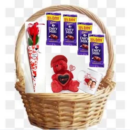 Plain Basket + 30 cm Height Teddy Bear + 1 Artificial Rose + Personalised Mug + 4 Dairy Milk Chocolate - VLNTCOMB20193
