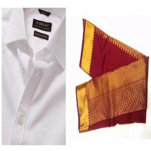 Art Silk Saree & Zodiac Shirt Combo - Saving 9$ - COMBO2017-6
