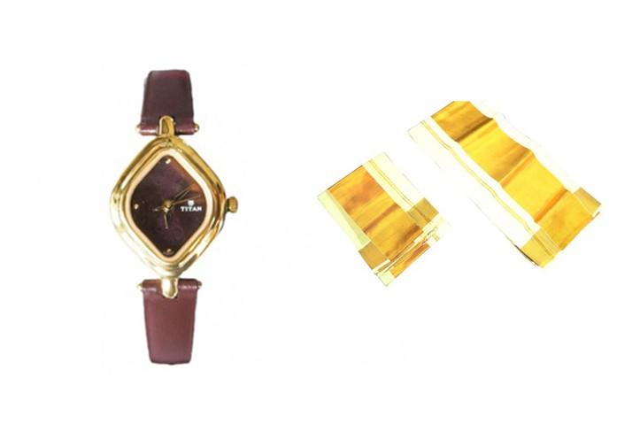 Special Gift For Her - Settu Mundu and Titan Ladies Watch - SPECIALSET2