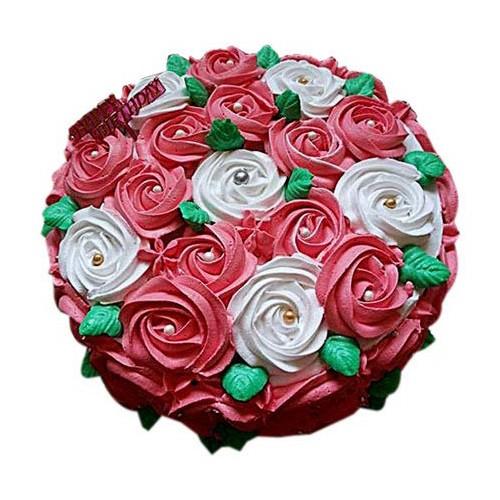 Swirl Roses Cake 1Kg - KGS-CAK179