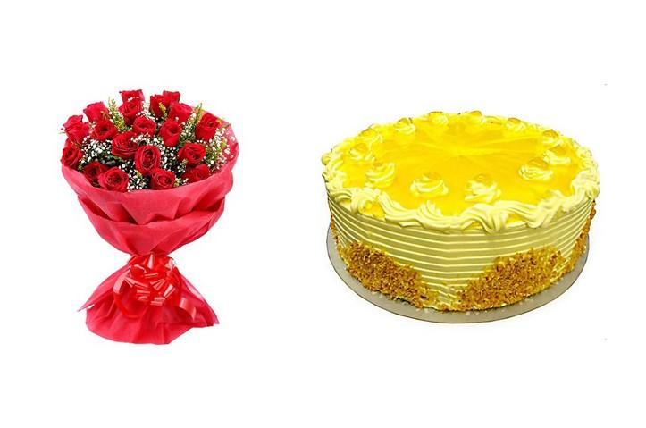 Wedding Gift Set - Pineapple Cake & Red Rose Bouquet - CAFLBUND1