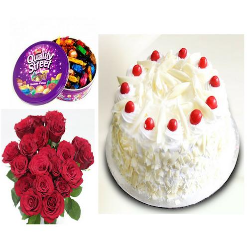 White forest cake, Chocolates & Flowers Combo - Saving 6$ - COMBO2017-7