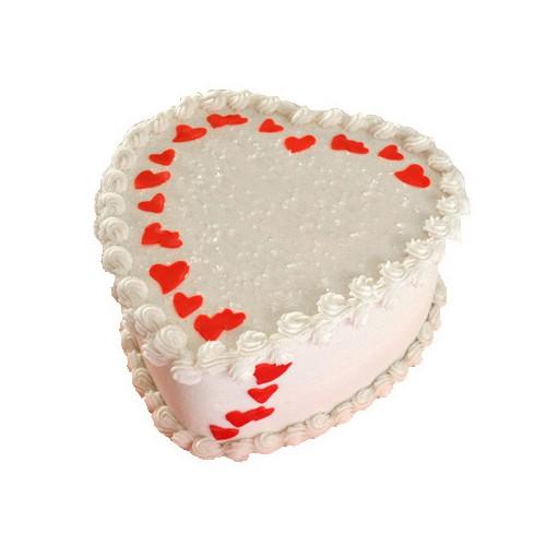 White Heart Shape Cake Half Kg - KGS-CAK115