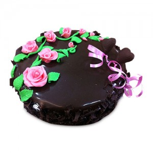 Chocolate Cake With Pink Roses 1Kg - KGS-CAK181