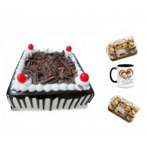 Black forest cake, Ferrero Rocher Chocolates & Personalized Mug - Saving 10$ - COMBO2017-16