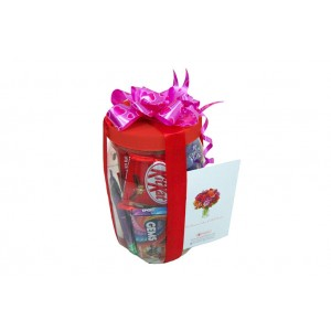 Gift In A Jar - Mix of delicious chocolates and wafers in a gift wrapped plastic jar
