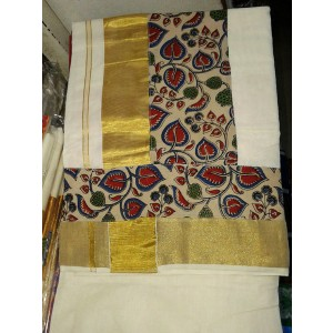 Kerala Kasavu Saree With Kalamkari Border - SAREE2017-11