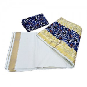 Kerala Kasavu Saree with Blue Kalamkari Border
