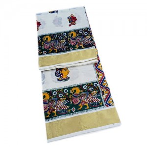 Kerala Kasavu Saree with Kalamkari Design - SAREE2017-19