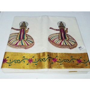Kerala Kasavu Saree with Kathakali Design Embroidery Work - SAREE2017-13