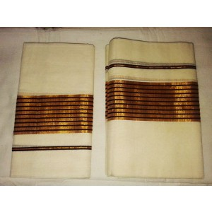 Kerala Kasavu Settu Mundu with Brown Striped Border