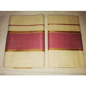 Kerala Kasavu Settu Mundu with Checks Design Border - SETSAREE2017-1