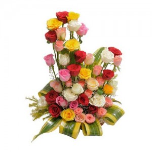 Mixed Rose Basket - KGS-FLR140