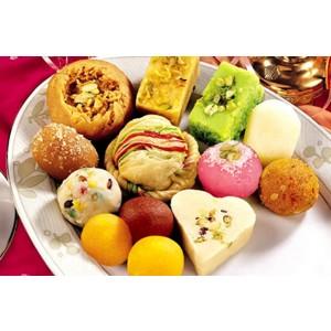Mixed Sweets - Ghee Mysore Pak, Burfi Badam, Burfi Amul, Burfi Royal & Milk Peda - 5NAV355