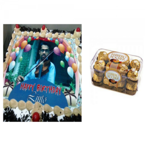2 Kg Personalized Cake & Ferrero Rocher Chocolates Combo - Saving 10$ - COMBO2017-8