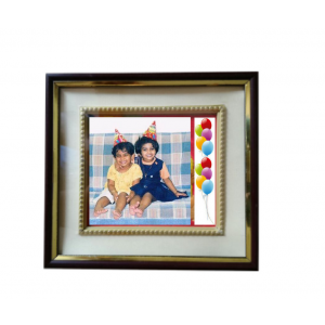 Photo Frame with Dark Brown and Golden Border - FRM102
