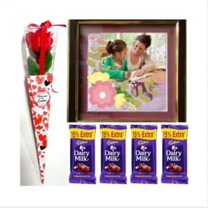 1 Artificial Rose + Frame 8 * 12 Inches + 4 Dairy Milk Chocolate - VLNTCOMB20191