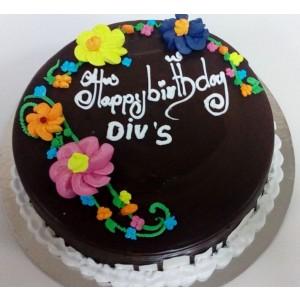 1Kg Chocolate Cake With Flowers - SKUCAK20181