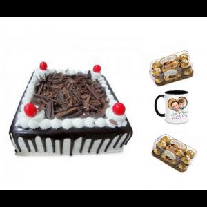 Black forest cake, Ferrero Rocher Chocolates & Personalized Mug - Saving 10$ - COMBO2017-16