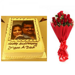 2 Kg Personalized Wedding Anniversary Cake Flowers Combo - Saving 10$ - COMBO2017-10
