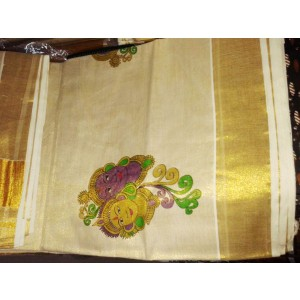 Radha Krishna Mural Print Kerala Kasavu Tissue Saree - SAREE2017-10