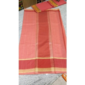 Pink Cotton Saree with Brown Boarder and Golden Kasavu - SAREE2017-1