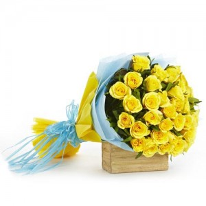 Yellow Rose Flower Bouquet - KGS-FLR105